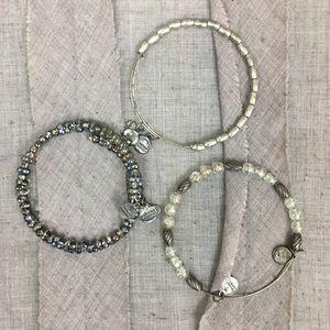 Alex and Ani Silver Beaded Bangle Bracelet Bundle